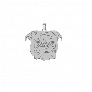 Pendant Bulldog Continental gold-plated rhodium-plated silver FREE ENGRAVING