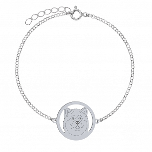 Bracelet Alaskan Malamute rhodium-plated silver or gold-plated ENGRAVING FREE