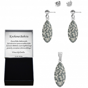 Swarovski earrings pendant Swarovski crystals - silver rhodium plated