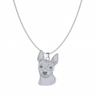 Necklace, American Hairless Terrier (AHT) silver rhodium plated or gold-plated ENGRAVING FOR FREE - MEJK Jewelery