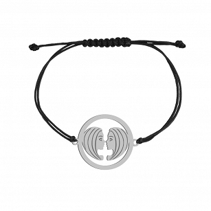 Bracelet Zodiac sign GEMINI gold-plated rhodium-plated silver twine FREE ENGRAVING