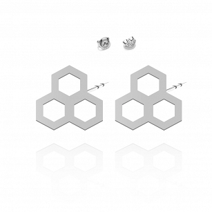 Earrings HONEYCOMB gold-plated rhodium-plated silver
