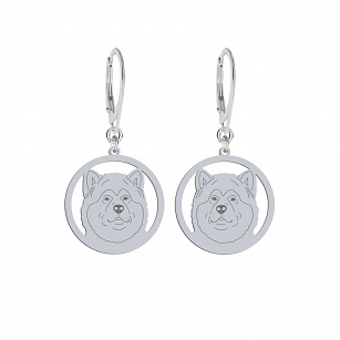Earrings  Alaskan Malamute gold-plated rhodium-plated silver FREE ENGRAVING