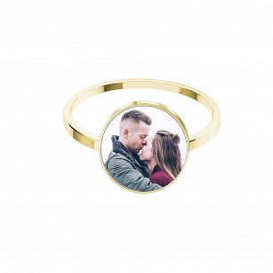 Ring with Photo Personalization - gold-plated silver