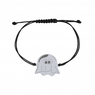 Bracelet Halloween Ghost gold-plated rhodium-plated silver twine