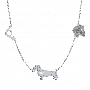 Necklace Wirehaired Dachshund SWAROVSKI heart ENGRAVING FREE - MEJK Jewellery