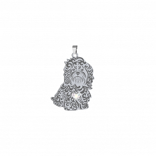 Pendant Russian Bolonka SWAROVSKI silver rhodium plated or gold-plated ENGRAVING FOR FREE - MEJK Jewelery
