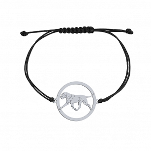 Bracelet Cane Corso silver rhodium plated or gold-plated cord FREE ENGRAVING - MEJK Jewelery