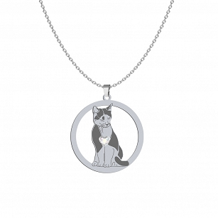 Necklace Domestic Cat TUXEDO CAT HEART ENGRAVING FOR FREE - MEJK Jewellery