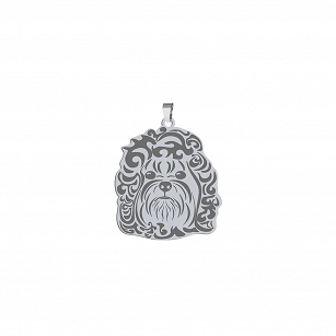 Pendant Bolonka Russian silver rhodium plated or gold-plated ENGRAVING FREE - MEJK Jewelery