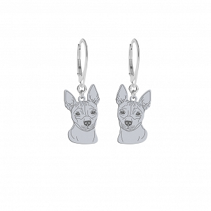 Earrings American Hairless Terrier (AHT) silver rhodium plated gold-plated ENGRAVING FOR FREE - MEJK Jewelery
