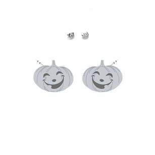 Earrings Halloween Pumpkin gold-plated rhodium-plated silver