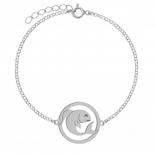 Bracelet Zodiac sign PISCES gold-plated rhodium-plated silver FREE ENGRAVING
