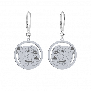 English Bulldog earrings silver rhodium-plated gold-plated ENGRAVING FREE
