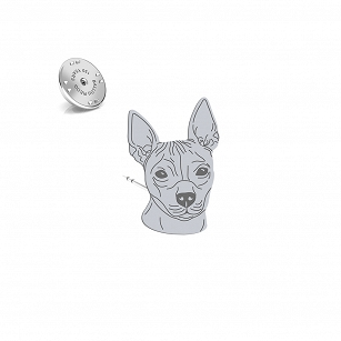 Pin American hairless terrier (AHT) silver rhodium plated or gold-plated - MEJK Jewelery