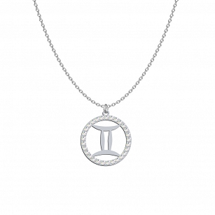 Swarovski Gemini Zodiac Sign necklace - rhodium-plated or gold-plated silver