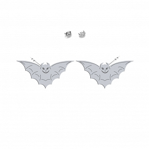 Earrings Halloween Bat gold-plated rhodium-plated silver