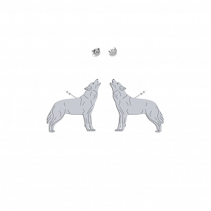 Earrings WOLF gold-plated rhodium-plated silver
