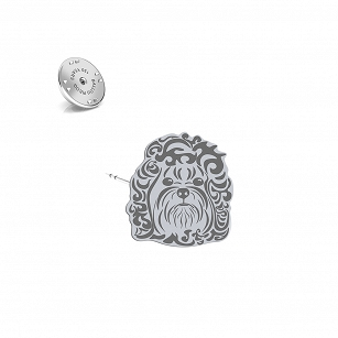 Pin Bolonka Russian silver rhodium plated or gold-plated - MEJK Jewelery