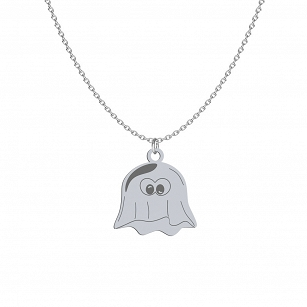 Necklace Halloween Ghost gold-plated rhodium-plated silver