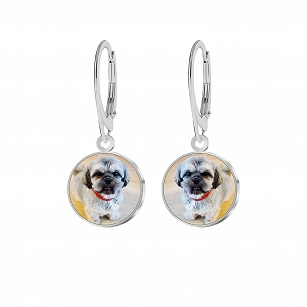Earrings with a picture Personalization silver rhodium and gold-plated FREE ENGRAVING