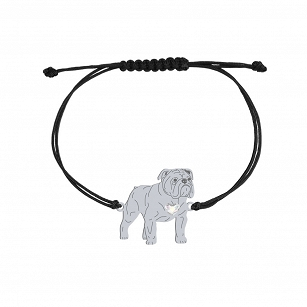 English Bulldog bracelet, SWAROVSKI string, FREE ENGRAVING
