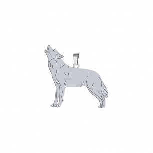 Pendant WOLF gold-plated rhodium-plated silver FREE ENGRAVING