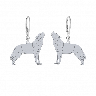 Earrings WOLF gold-plated rhodium-plated silver FREE ENGRAVING