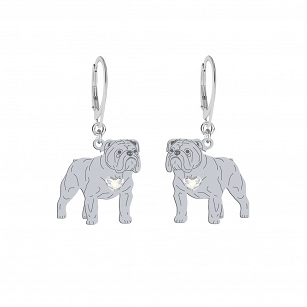 English Bulldog earrings SWAROVSKI heart ENGRAVING FREE