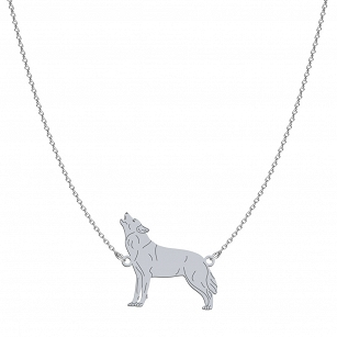 Necklace WOLF gold-plated rhodium-plated silver FREE ENGRAVING