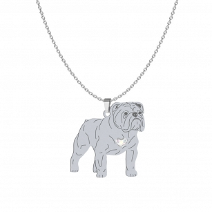 English Bulldog necklace SWAROVSKI heart ENGRAVING FREE