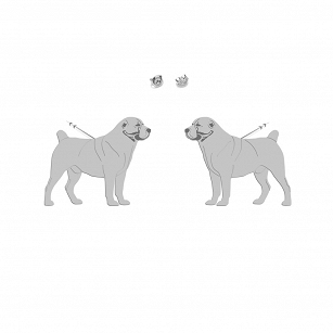 Earrings Central Asian Shepherd Dog (Asian) Gold-plated rhodium-plated silver