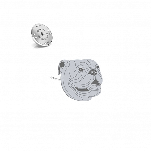 English Bulldog pin, gold-plated silver rhodium plated