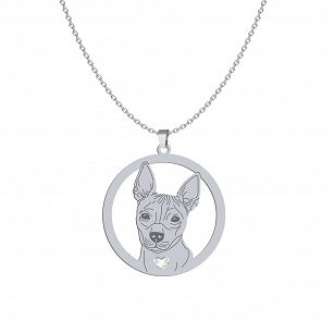 Necklace American Hairless Terrier (AHT) SWAROVSKI heart ENGRAVING FOR FREE - MEJK Jewelery