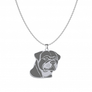 Necklace Rottweiler silver rhodium plated gold ENGRAVING FREE - MEJK Jewellery