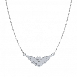 Necklace Halloween Bat gold-plated rhodium-plated silver