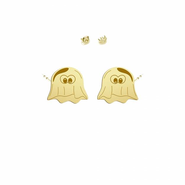 Earrings Halloween Ghost gold-plated rhodium-plated silver