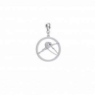 Charms Artistic gymnastics with a rhodium-plated or gold-plated rim