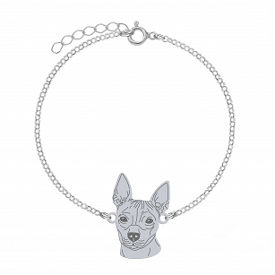 Bracelet American hairless terrier (AHT) silver rhodium-plated or gold-plated ENGRAVING FOR FREE - MEJK Jewelery