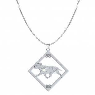 Necklace Staffordshire Bull Terrier SWAROVSKI heart FREE ENGRAVING