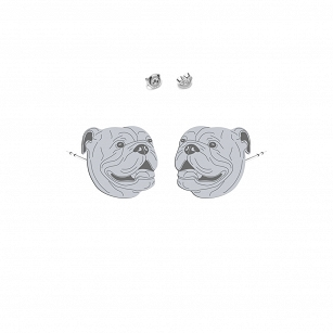 English Bulldog earrings rhodium-plated gold-plated