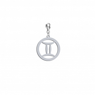 Gemini Zodiac Sign charms - rhodium-plated or gold-plated silver