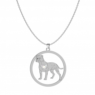 Necklace Bulldog Continental SWAROVSKI heart FREE ENGRAVING