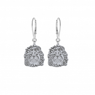 Earrings Bolonka Russian silver rhodium-plated or gold-plated FREE ENGRAVING - MEJK Jewelery
