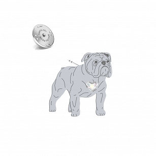 English Bulldog pin, SWAROVSKI, heart, gold-plated silver rhodium