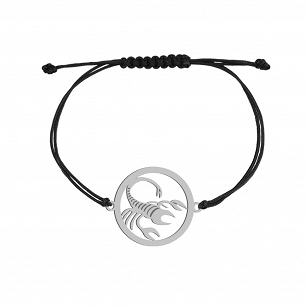 Bracelet Zodiac sign SCORPIO gold-plated rhodium-plated silver twine FREE ENGRAVING
