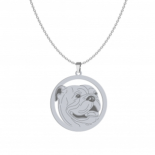 English Bulldog necklace silver rhodium-plated gold-plated ENGRAVING FREE