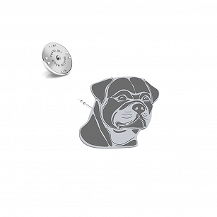 Pin Rottweiler rhodium plated silver- MEJK Jewellery