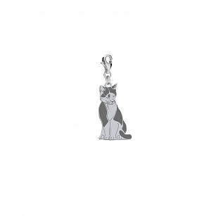 Charms Domestic Cat TUXEDO CAT silver rhodium plated gold-plated ENGRAVING FREE  - MEJK Jewellery