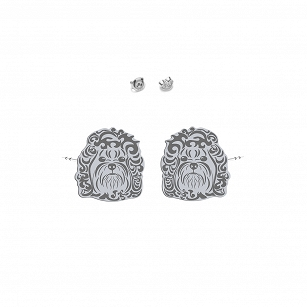 Earrings Bolonka Russian silver rhodium plated or gold-plated - MEJK Jewelery